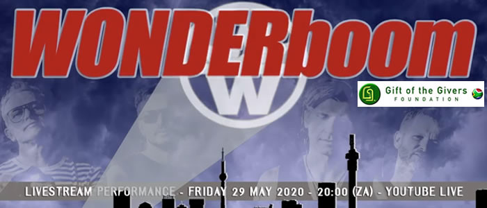 WONDERboom play live to support Gift Of The Givers – 29 May